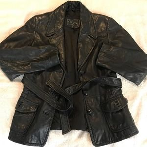 Express Womens Black Leather Belted Jacket S